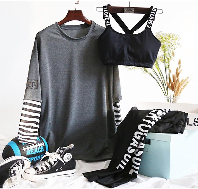 HJMTRY Damen-Wellness-Jogging-Anzug 3 Stück Sport-BHS Yoga-Hosen Jogger Langarm Groe Gre Schnell trocknend Absorbent Atmungsaktiv