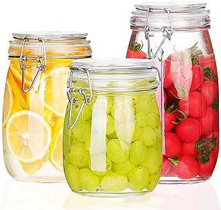 csd Bouteille de stockage de confiture de nourriture 3PCS bouteilles en verre scellées avec boucle Transparent café de gra...