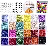 Queta Cuentas de Colores 2mm, 24000pcs Mini Cuentas y Abalorios Cristal para DIY Pulseras Collares Bisutería con Mas Colgantes(24 Colores)