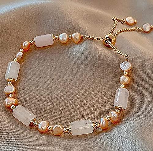 HYJMJJ Feng Shui Pulsera de la Riqueza Calcedonia Bambú Pulsera de Carneler Pulsera de Agua Dulce Perlas de Oro Lujo Luxury Lucky Jade Bangle Amuleto para Mujeres Talismán para Prosperid