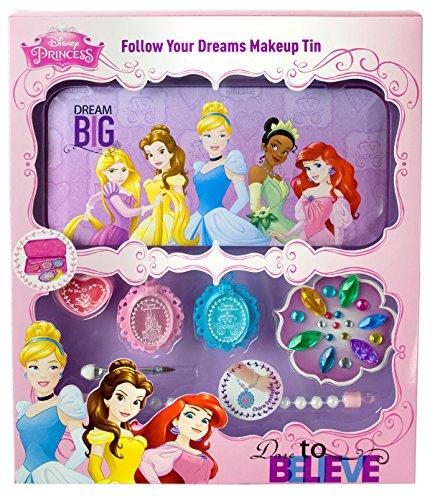 Markwins Princesse Disney Princesses Coffret cadeau boîte en métal avec imprimé, 1er Pack (Ombre à paupières Gloss, Applicateur pour lèvres et yeux, bracelet perles, bijoux Pierre de Set à coller)