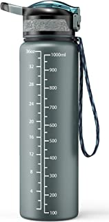 Cocoda Botella Agua Deportiva, 1000ml Botella de Agua Deportiva Sin BPA Tritan con Tapa Abatible Fácil Apertura con Un Clic, Cierre a Prueba Fugas para Senderismo al Aire Libre, Viajes de Campamento