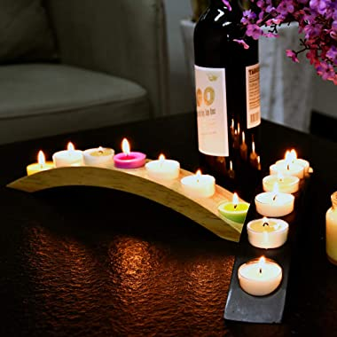 Wooden Bridge Candle Holders 15 inch in Length, Long Tea Light Candle Holders Bar, - 7 Candle Seat-Black