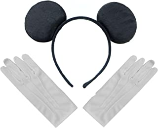 Black Mickey Mouse Disney Fancy Dress Ears Headband + Gloves Set