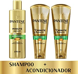 Pantene Pack Pantene Minute Miracle Restauración: 1 Shampoo 270ml + 2 Acondicionadores 3mm 170 Ml, color, 1 count, pack of/paquete de