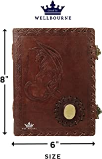 Imperial Leather Journal Writing Notebook 8 X 6 Inch Embossed Moon Dragon Side Gem Brown