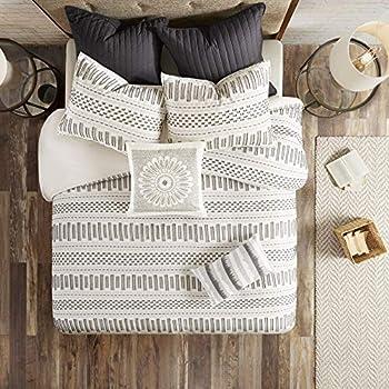 INK+IVY 100% Cotton Duvet Mid Century Modern Design All Season Comforter Cover Bedding Set Matching Shams Full/Queen 88 x92   Rhea Ivory Geometric Clipped Jacquard