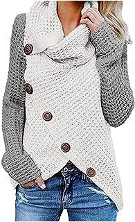 HDGTSA Women's Knit Pullover Chunky Button Turtle Cowl Neck Asymmetric Hem Wrap Sweater Jumper