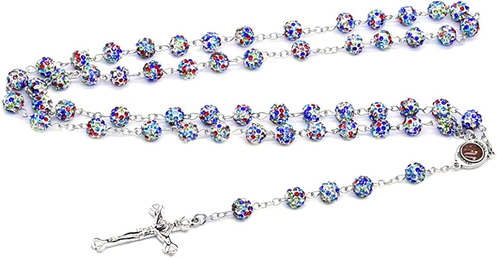 BUZHI Colorful Crystal Beads Rosary Catholic Necklace with Cross,Rhinestone Rosary Beads Cross Y Necklace Chain for Women