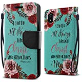 FINCIBO Case Compatible with Samsung Galaxy A10e A102U 2019, Fashionable Flap Pouch Cover Case + Card Holder Kickstand for Galaxy A10e A102U (NOT FIT A10) - Christian Bible Verses Philippians 4:13