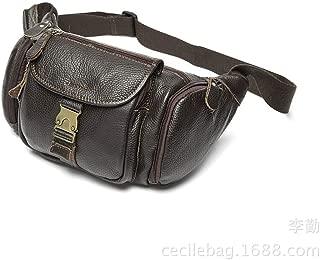 Sturdy Outdoor Multi-Function PU Material Men and Women Pockets Shoulder Messenger Handbag Chest Handbag Motorcycle Handbag Mobile Phone Handbag Purse Size 20 * 17CM. Large Capacity (Color : Brown)