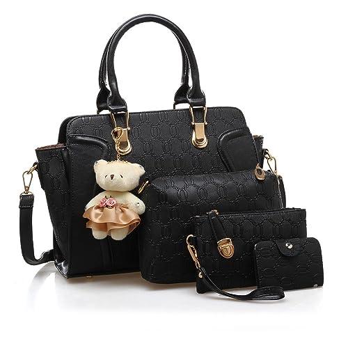 New Fashion Women PU Leather Handbag Messenger Bag Shoulder Bag Tote Bag  Bear Key Chain Card 397531d92e462