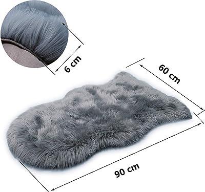 HEQUN Faux Fur Sheepskin Style Rug Faux Fleece Chair Cover Seat Pad Soft Fluffy Shaggy Area Rugs For Bedroom Sofa Floor (Grey, 60 X 90 CM)
