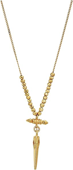 Yellow Gold Bullet Short Necklace