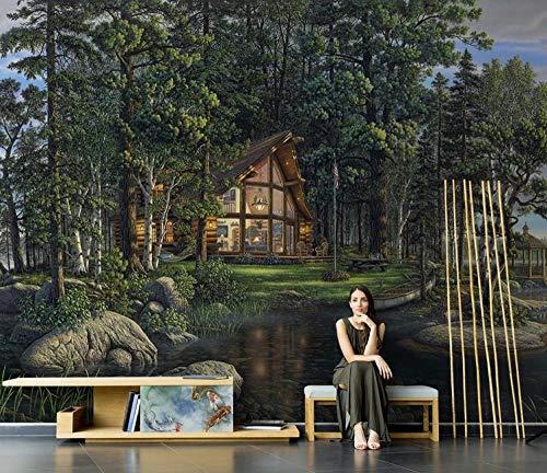 HUATULAI muurschildering 3D achtergrond foto fotobehang landschap behang villa land boerderij muurschildering woonkamer tv achtergrond wandbekleding 400 x 280 cm/b x h