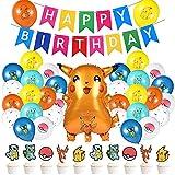 30PCS Palloncini Decorativi per Compleanno,Compleanno Festa Palloncini in Lattice,Palloncini in Foglio di Alluminio Tema Festa Cartone Animato, Cake Topper, Decorazione Festa di Compleanno per Bambini