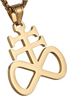 Unisex Stainless Steel Church of Satan Satanic Leviathan Cross Pendant Necklace,Religions Jewelry