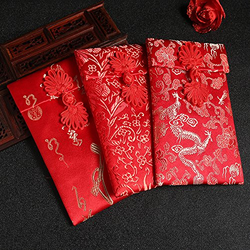 Corciosy 4pcs Chinese Silk Red Envelopes, HongBao Gift Wrap Bags Red Lucky...