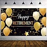 Happy Retirement Party Decorations, Extra Large Fabric Black and Gold Happy Retirement Sign Banner Photo Booth Backdrop Background with Rope for Retirement Party Favor, 70.8 x 43.3 Inch
