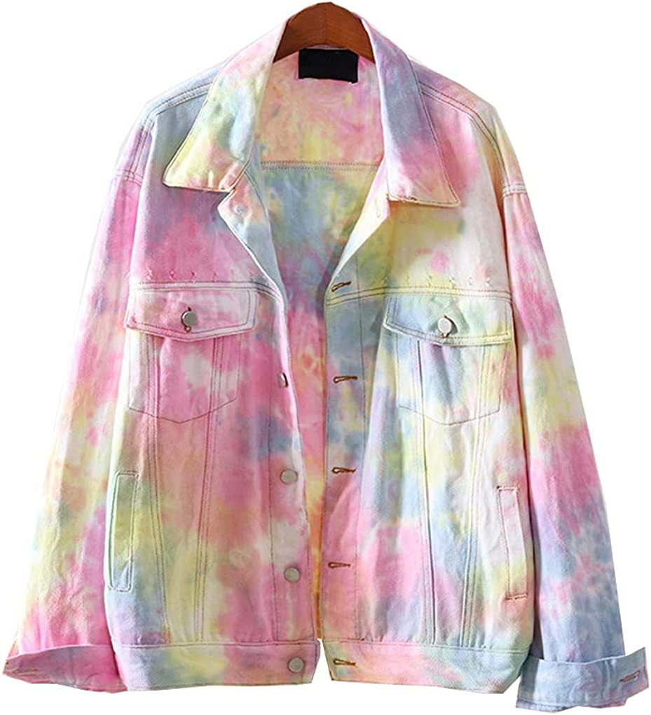 Rainbow Hole Short Outerwear Women Spring and Autumn Loose Single-Breasted Streetwear Denim Jacket Coats