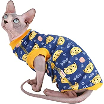 Sphynx Hairless Cat Cute Breathable Summer Cotton T-Shirts Pet Clothes,Round Collar Vest Kitten Shirts Sleeveless, Cats & Small Dogs Apparel