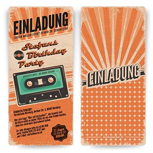 Einladungskarten zum Geburtstag (30 Stück) als Retro Karte Konzertkarten Vintage Konzert Disko Kassette