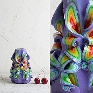 Purple Premium Handmade Decoration Carved Candle Birthday Presents Wedding Centerpiece - EveCandles