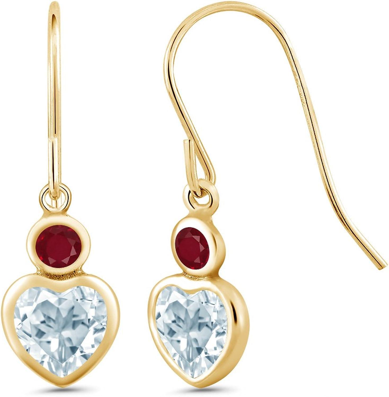 1.40 Ct Heart Shape Sky bluee Topaz Red Ruby 14K Yellow gold Earrings