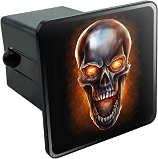 Graphics and More Chrome Metal Flaming Skull Tow Trailer Hitch Cover Plug Insert