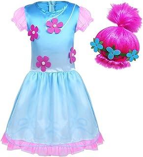 BT WILLING - Disfraz de princesa Poppy, de Trolls, con peluca, para fiestas de disfraces o de Halloween