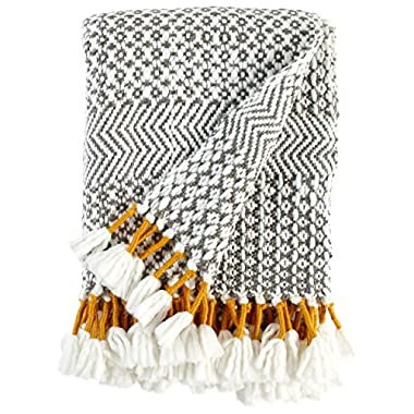 Rivet Modern Hand-Woven Stripe Fringe Throw Blanket, 50  x 60 , Charcoal