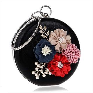 DIEBELLAU Women's Flower Handbag Fashion Dress Evening Bag Lady Holding a Dinner Bag (Color : Black, Size : XS)