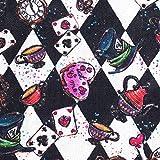 TRIXES Baumwollstoff - Lustiges Tea Party Design mit