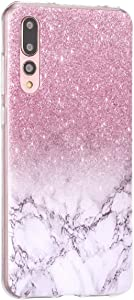 Surakey Compatible with Huawei P20 Pro Case Clear Thin Slim Fit with Stylish Silicone Bumper Shockproof Phone Cover Flower Pattern Soft Flexible Protective Case Marble