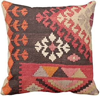 Turkish Rug Print Throw Pillow Case Cover BohoEthnic Geometric Carpet Pattern 1818 Sq OUTDOOR Pillow Case Covers RedOrangePink GeometricTribal