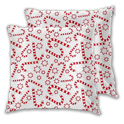 MATEKULI Cushion Covers,Seamless Candy Canes,Pack of 2 Soft Decorative Square Throw Pillow Covers Cushion Pillowcases for Couch Sofa Chair 40cm x 40cm
