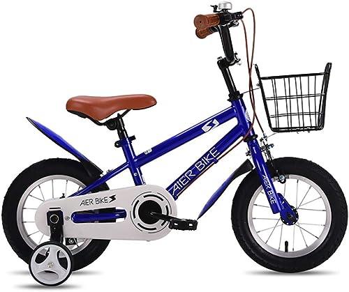 GAIQIN Durable Bicicleta para Niños Adecuada para Niños y niñas de 3 a 8 años de Edad, Frenos de Doble Disco, operación Segura (con Cesta) (Color   Dark azul, Tamaño   12inch)