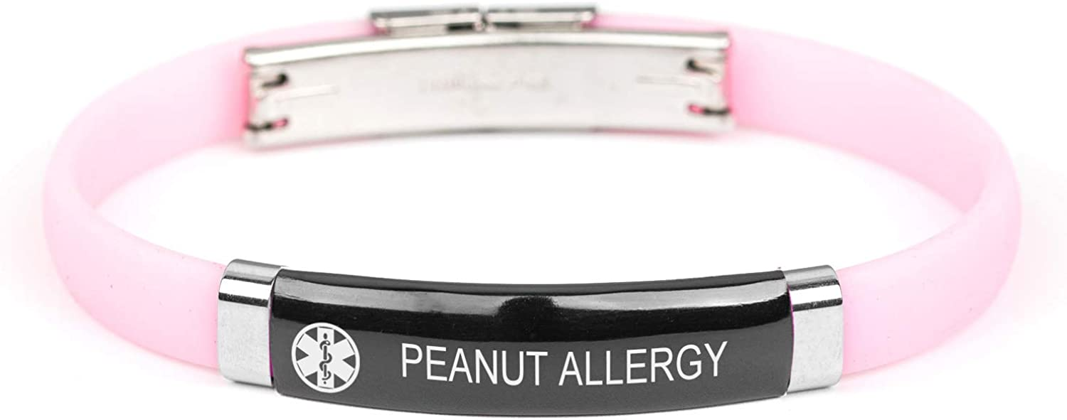 MZZJ Customize Medical Allergy ID Emergency Alert 8MM Rubber Silicone 2 Tone Stainless Steel Thin Bracelet Wristband for Teens Adult,Outdoor Sport Safe Warning Jewelry for Son Daughter,12 Colors