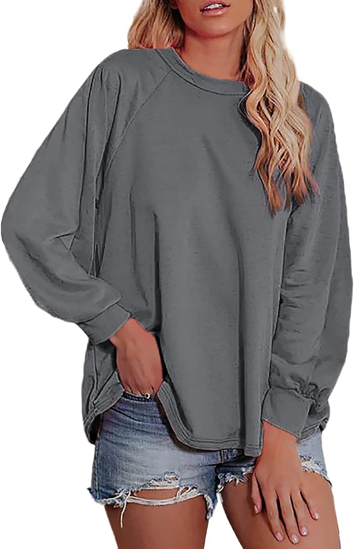 SHEWIN Women Crewneck Sweatshirt Fashion Casual Long Sleeve Fall Tunic Tops Pullover Sweatshirts for Women, US 12-14(L), Grey
