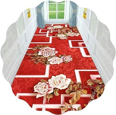 JIAJUAN Hallway Runner Rug Red, 3D Printing Flowers Design, Indoor Non Skid Floor Carpet - Hall Kitchen Entryway, Customizable (Color : A, Size : 120x500cm)