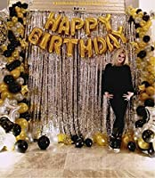 13Pcs Happy Birthday Letter Foil Balloon Set of GOLD + 1Pcs Silver Fringe Curtain (3 X 6 Feet) + Pack of 15 pcs Metallic Balloons (Black, Gold & Silver) Ship Non inflated, Height of each letter is approx 16 inches and can cover wall space of about 20...