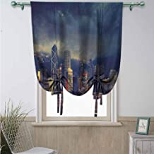 Thermal Insulated Blackout Curtain, Hinder Light for Small Window for Living Room Cityscape Hong Kong Cityscape Stormy Weather Dark Cloudy Sky Waterfront Port Dramatic View - 23