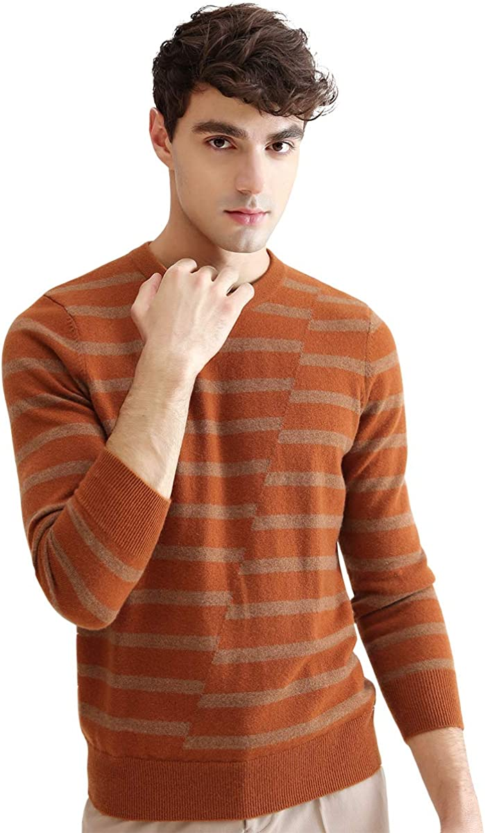 zhili 2018 Winter O-Neck Striped Pullover Cashmere Sweater
