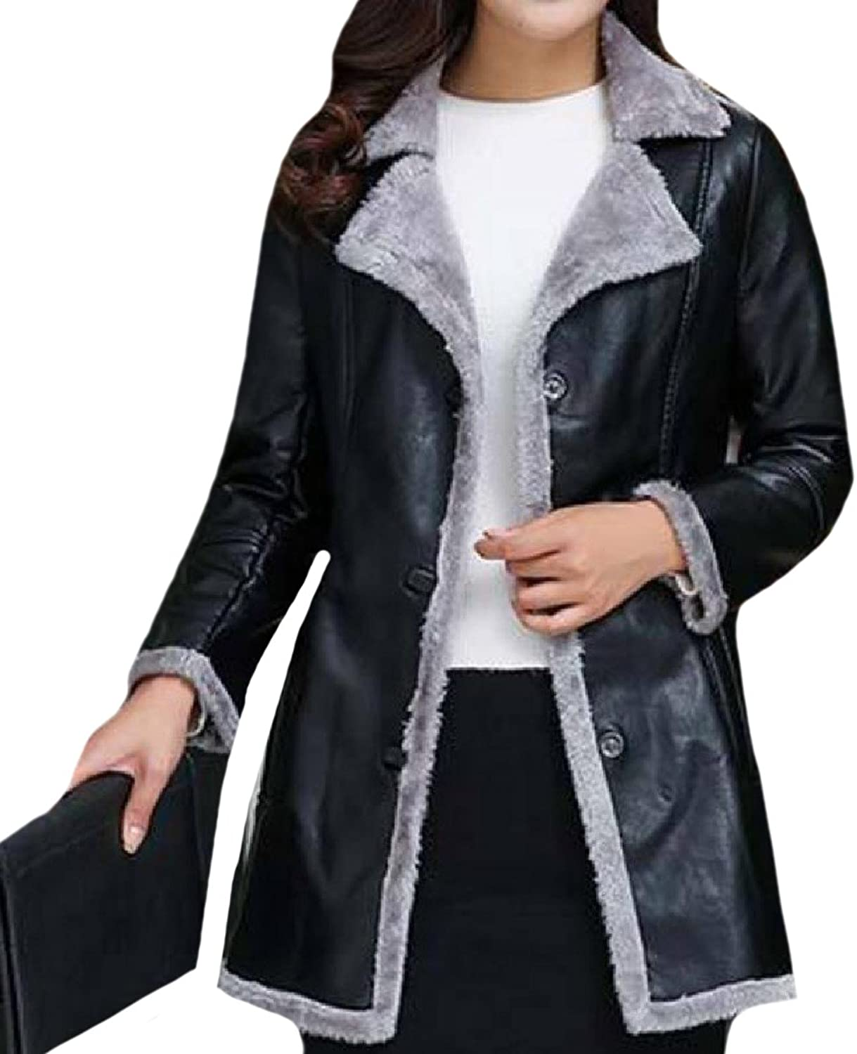 ANDYOUWomen FurLined Notched Lapel Mid Long PU Leather Jacket