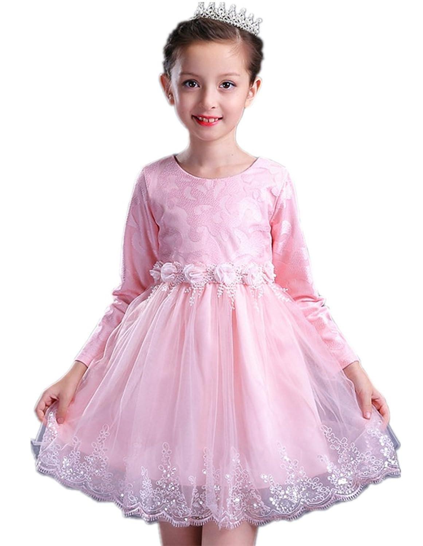 (チェリーレッド) CherryRed 子供服 フォーマルドレス きらきら ふんわり 無地 丸襟