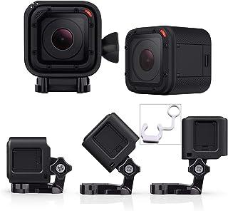 micros2u Carcasa de Perfil Bajo con Soporte. Compatible con GoPro Hero Session 5 4 y cámaras de acción. Ideal para Motos Bicicletas Cascos