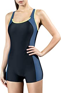 StarTreene Women's One Piece Swimsuits Boyleg Sports Swimwear Bathing Suit