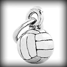 Sterling Silver 3D Small Volleyball Charm OR Pendant Vintage Crafting Pendant Jewelry Making Supplies - DIY for Necklace Bracelet Accessories by CharmingSS