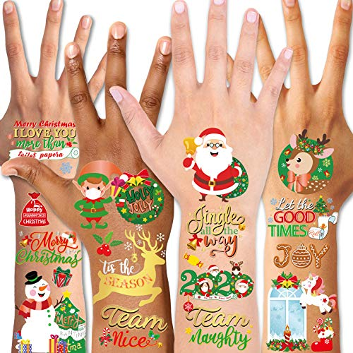 Konsait Christmas Tattoo for Kids Face Hands Tattoos Christmas Stocking Filler Stuffers Xmas Gifts Waterproof Holiday Temporary Tattoos,Merry Christmas Party Favors Christmas Eve Xmas Tree