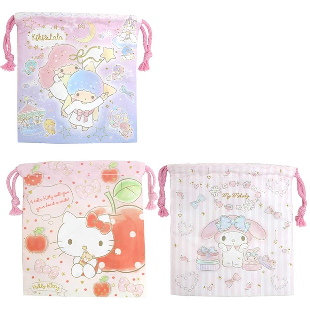 静かに注文王女巾着袋 給食袋 3枚セット 入学準備 キャラクター コップ袋 Sサイズ